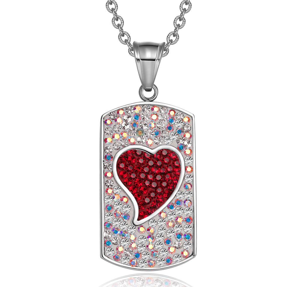Magic Heart Austrian Crystals Amulet Love Energy Rainbow White Cherry Red Dog Tag Pendant Necklace