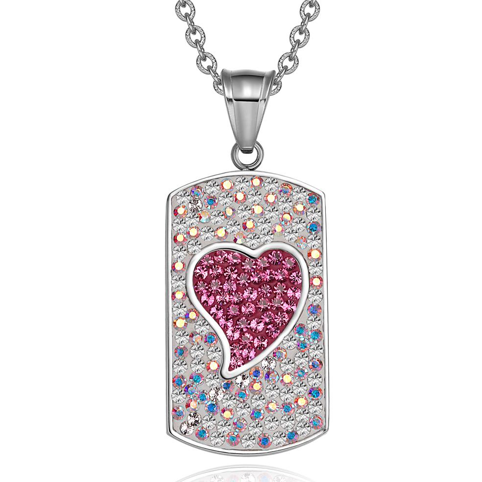 Magic Heart Austrian Crystals Amulet Love Energy Rainbow White Fuscia Pink Dog Tag Pendant Necklace