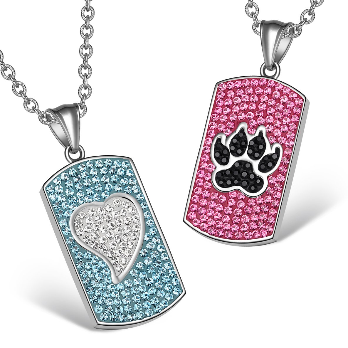 Heart Wolf Paw Austrian Crystal Love Couples Best Friends Tag White Black Pink Aqua Blue Necklaces