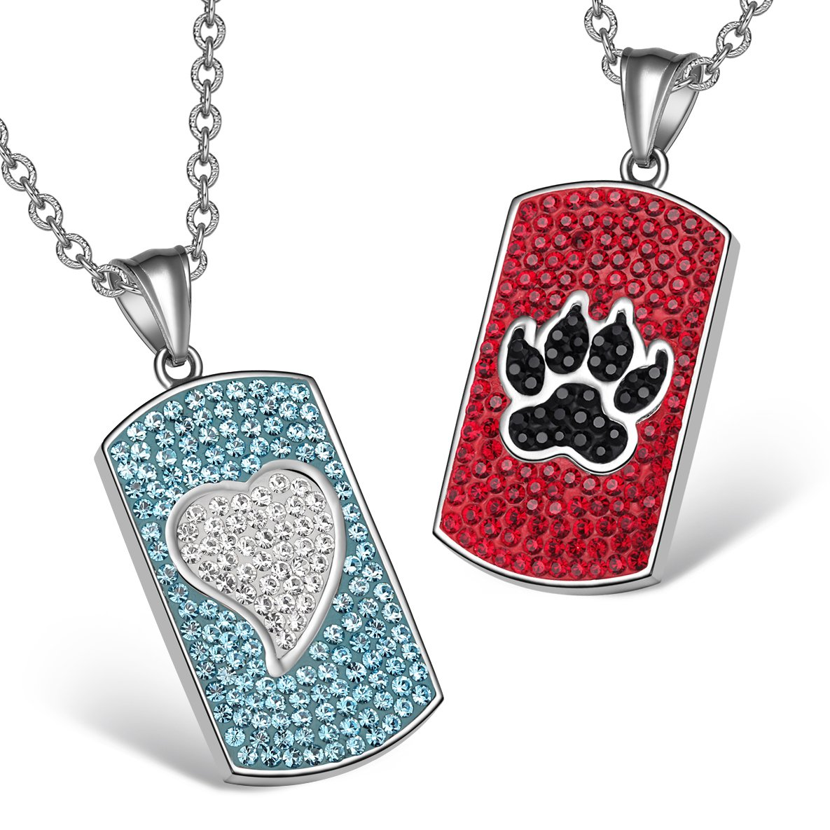 Heart Wolf Paw Austrian Crystal Love Couples Best Friends Tag White Aqua Blue Red Black Necklaces