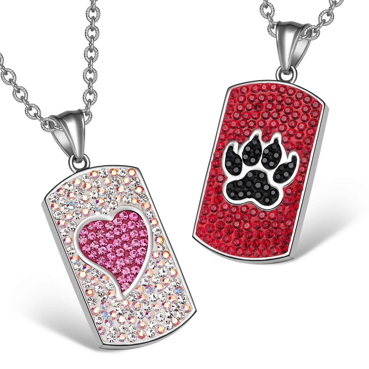 Heart Wolf Paw Austrian Crystal Love Couples Best Friends Dog Tag White Pink Red Black Necklaces