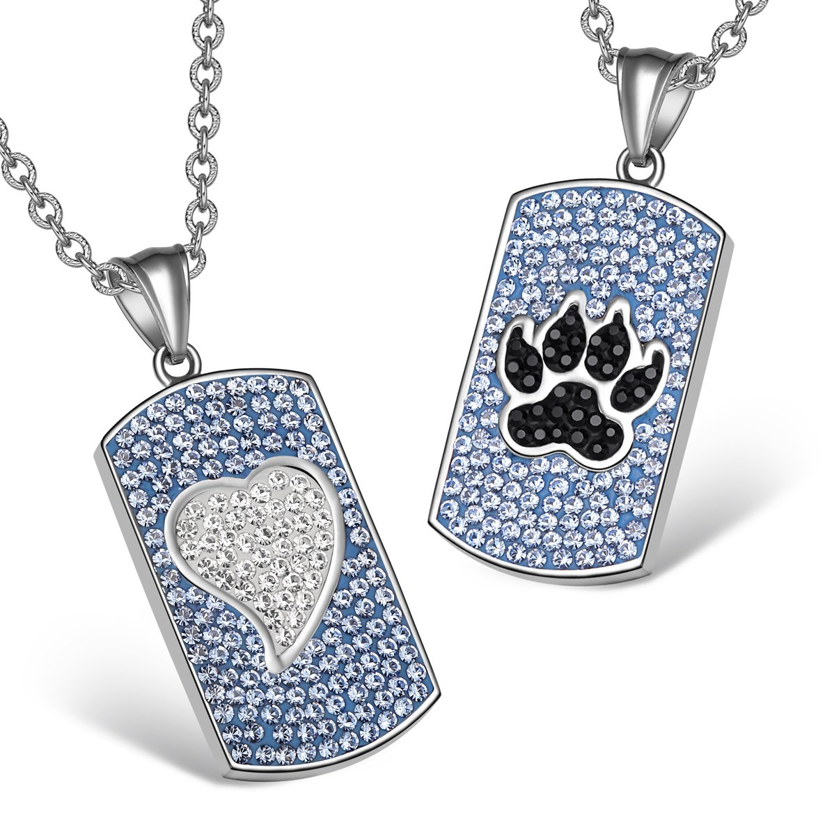 Heart Wolf Paw Austrian Crystal Love Couples Best Friends Dog Tag Blue White Jet Black Necklaces