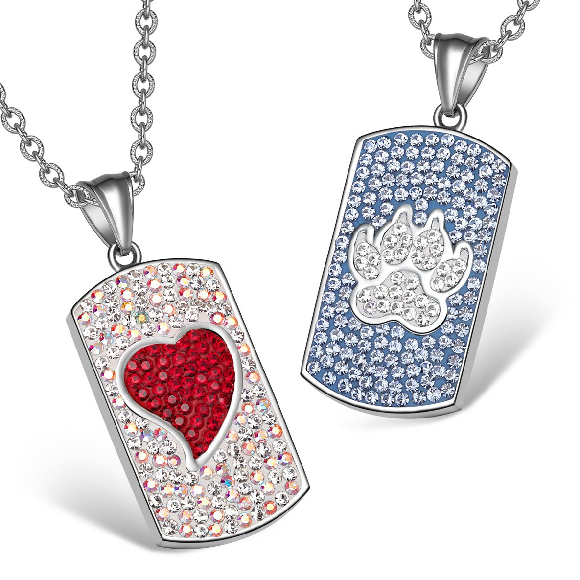 Heart Wolf Paw Austrian Crystal Love Couples Best Friends Dog Tag Red White Sky Blue Necklaces