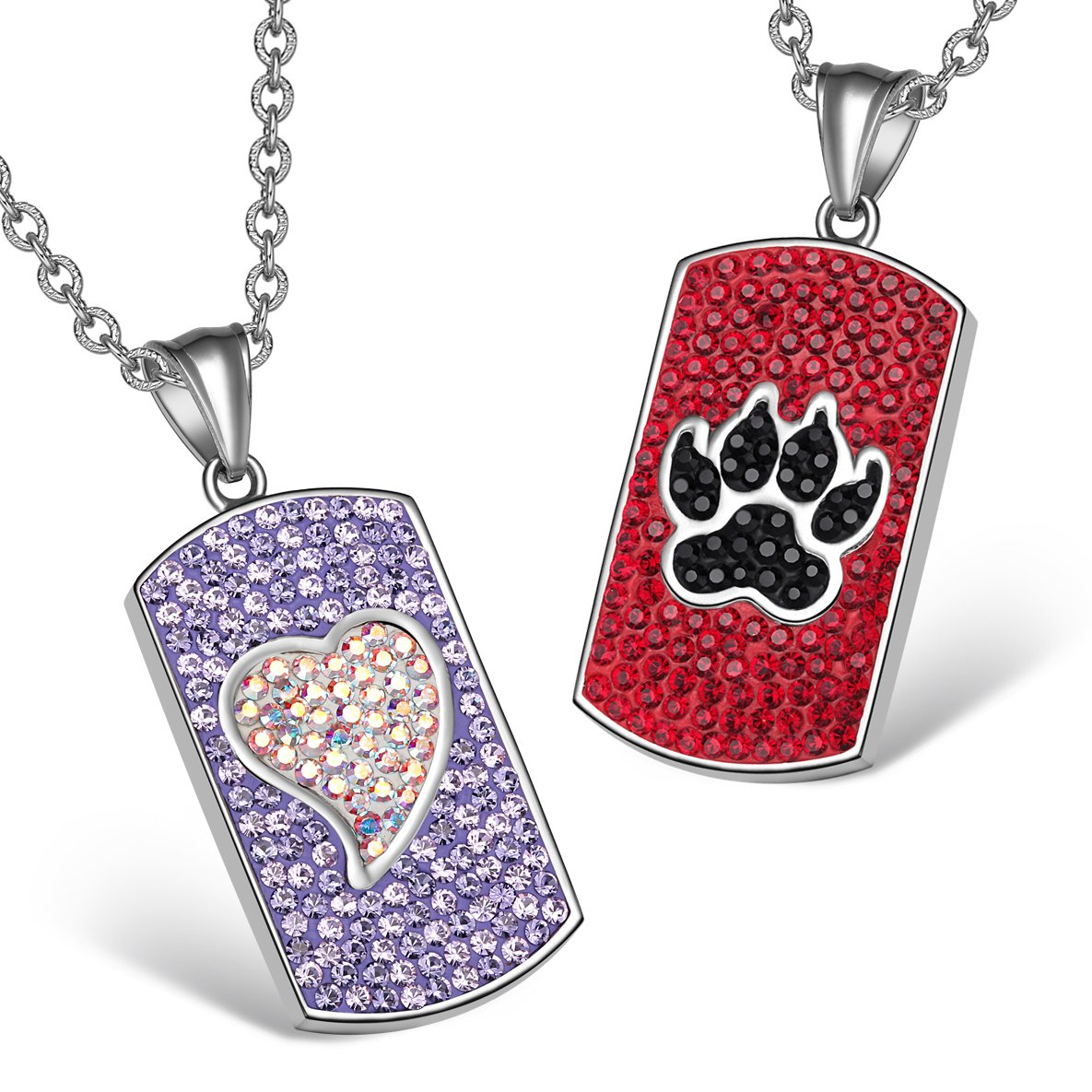 Heart Wolf Paw Austrian Crystal Love Couples Best Friends Dog Tag Purple White Red Black Necklaces