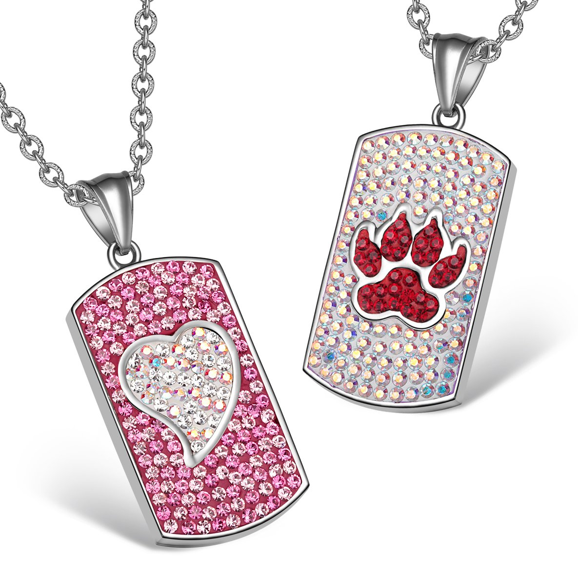 Heart Wolf Paw Austrian Crystal Love Couples Best Friends Dog Tag Pink White Cherry Red Necklaces