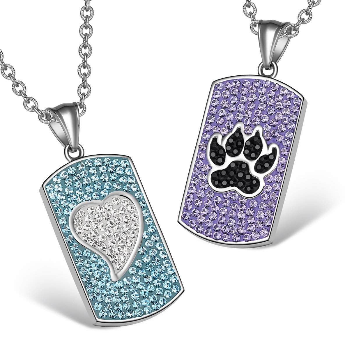 Heart Wolf Paw Austrian Crystal Love Couples Best Friend Tag Purple Aqua Blue White Black Necklaces