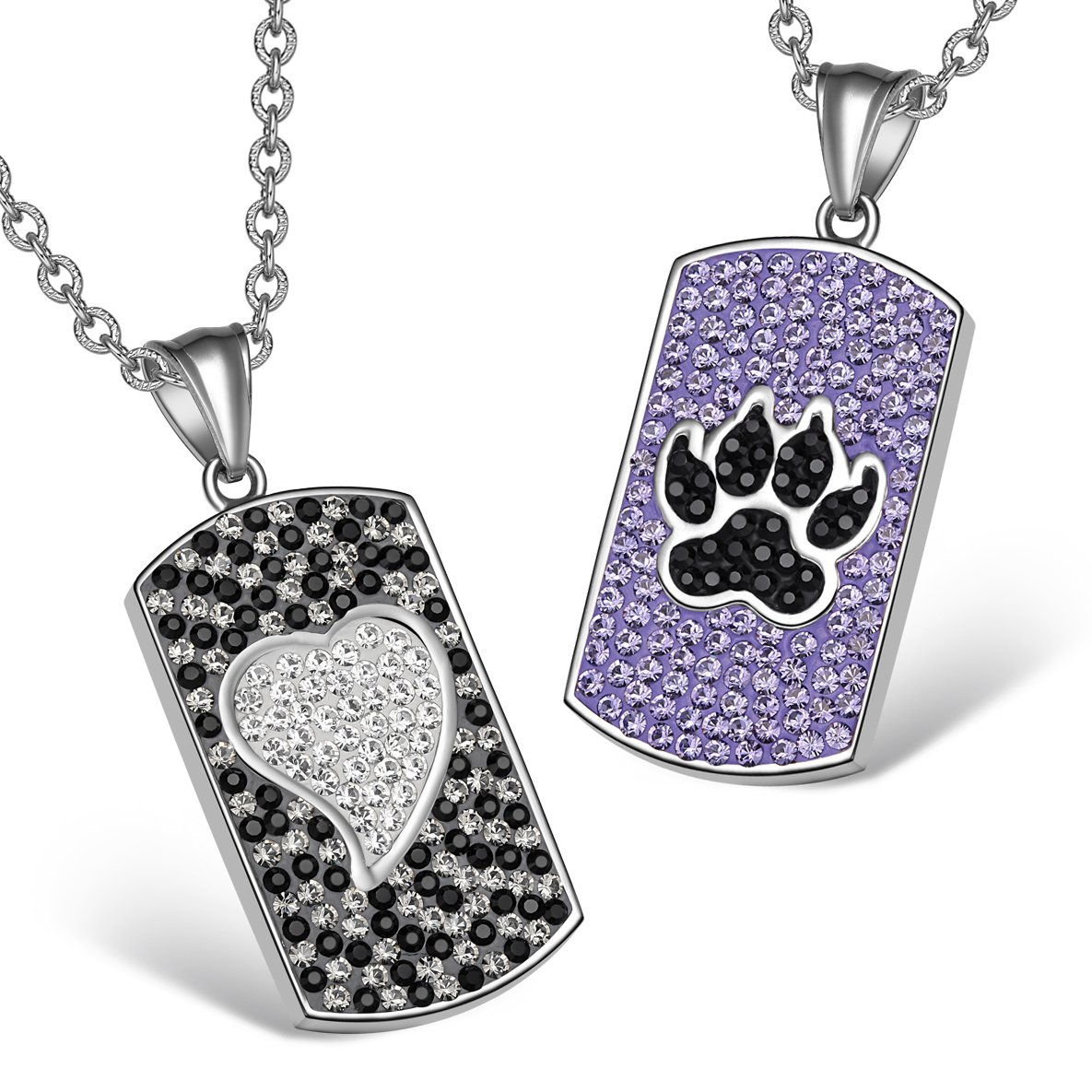 Heart Wolf Paw Austrian Crystal Love Couples Best Friends Dog Tag Purple Jet Black White Necklaces