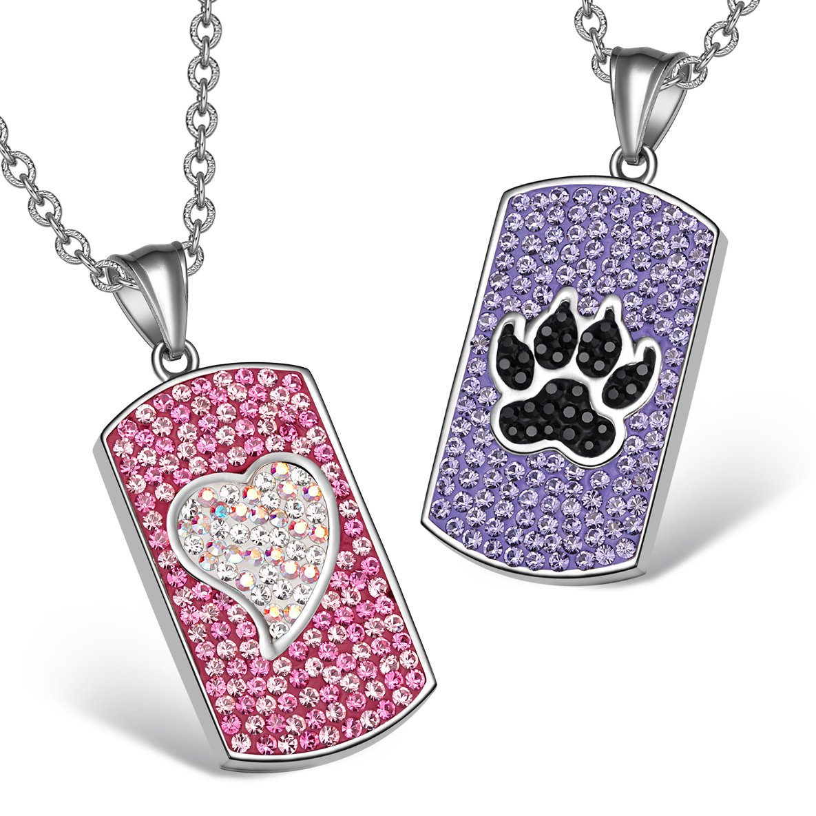Heart Wolf Paw Austrian Crystal Love Couples Best Friends Dog Tag Pink White Purple Black Necklaces