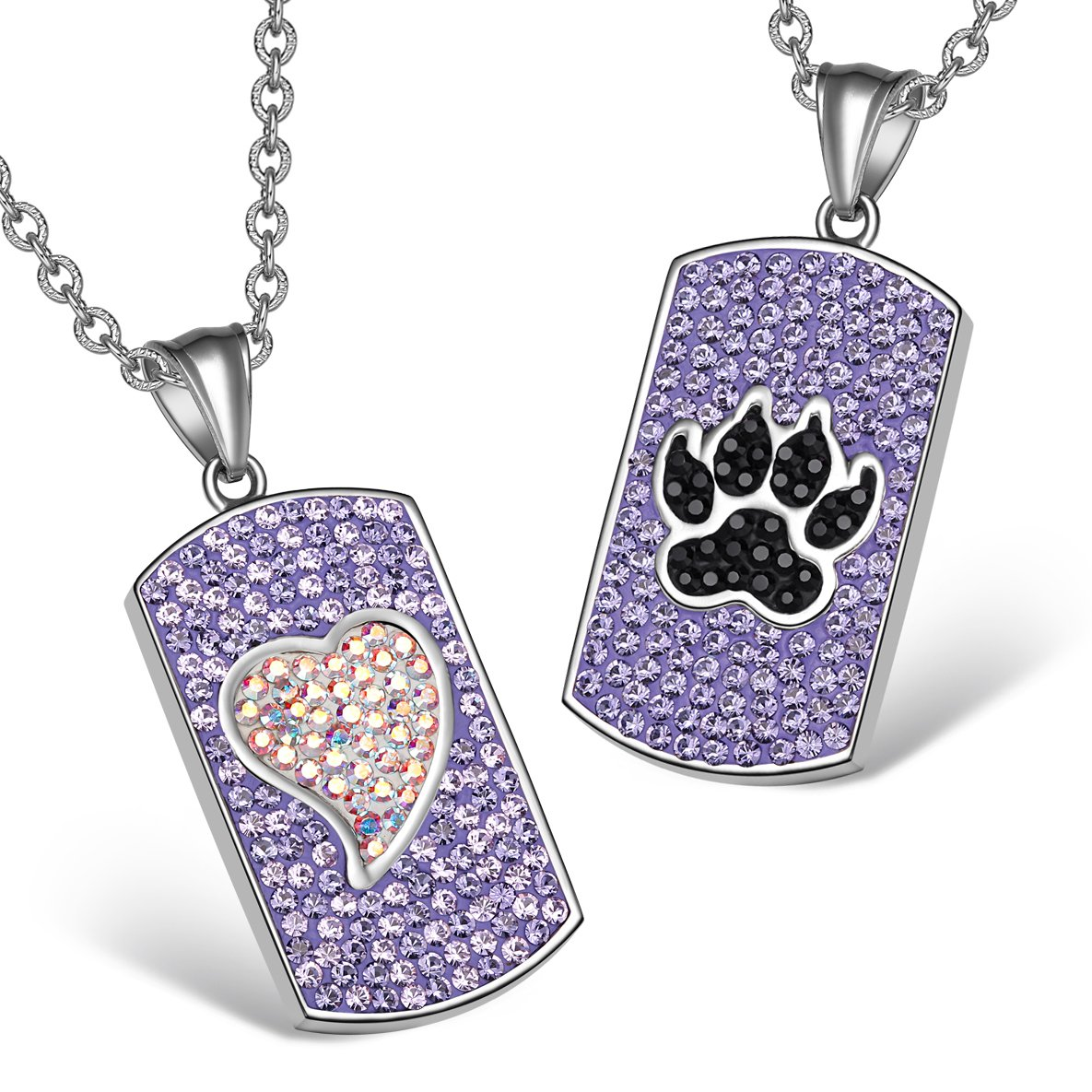 Heart Wolf Paw Austrian Crystal Love Couples Best Friends Tag Rainbow White Purple Black Necklaces