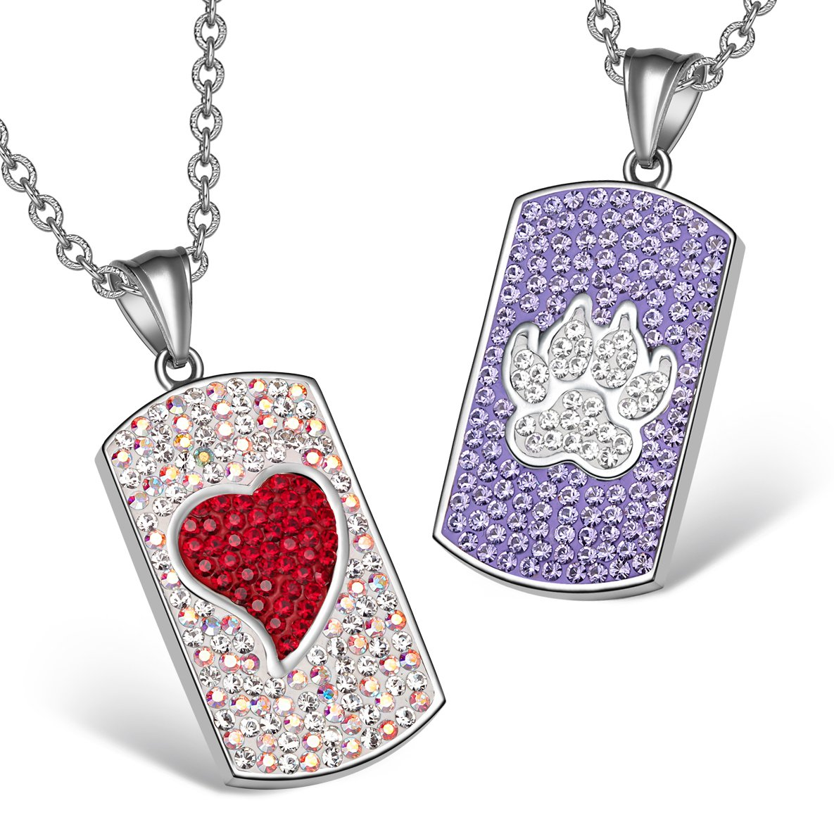 Heart Wolf Paw Austrian Crystal Love Couples Best Friends Tag Red Rainbow White Purple Necklaces