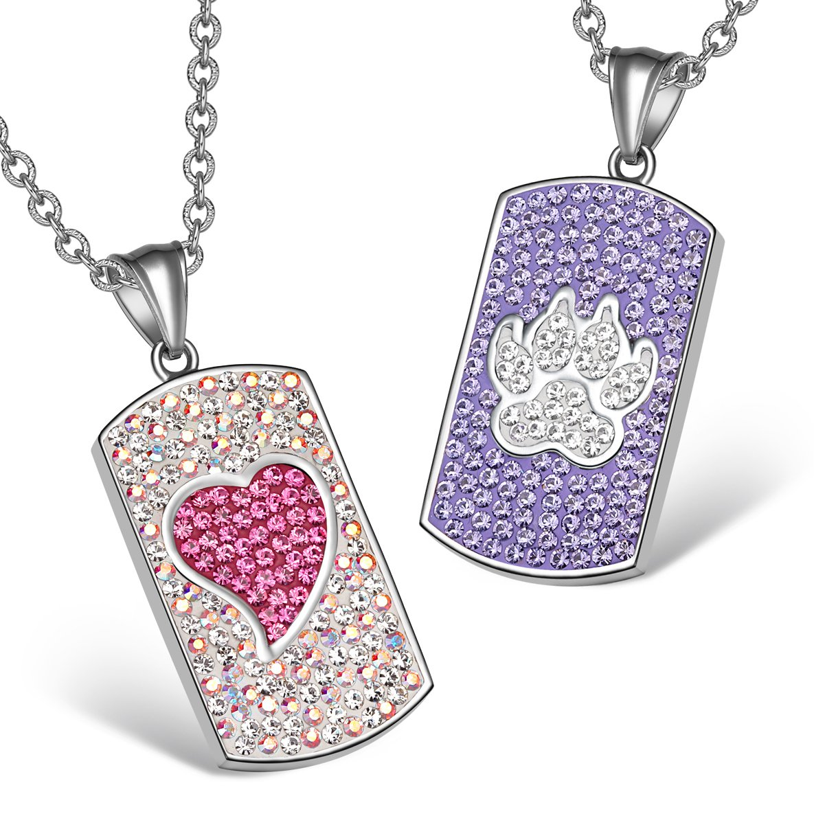 Heart Wolf Paw Austrian Crystal Love Couples Best Friends Tag Rainbow White Purple Pink Necklaces