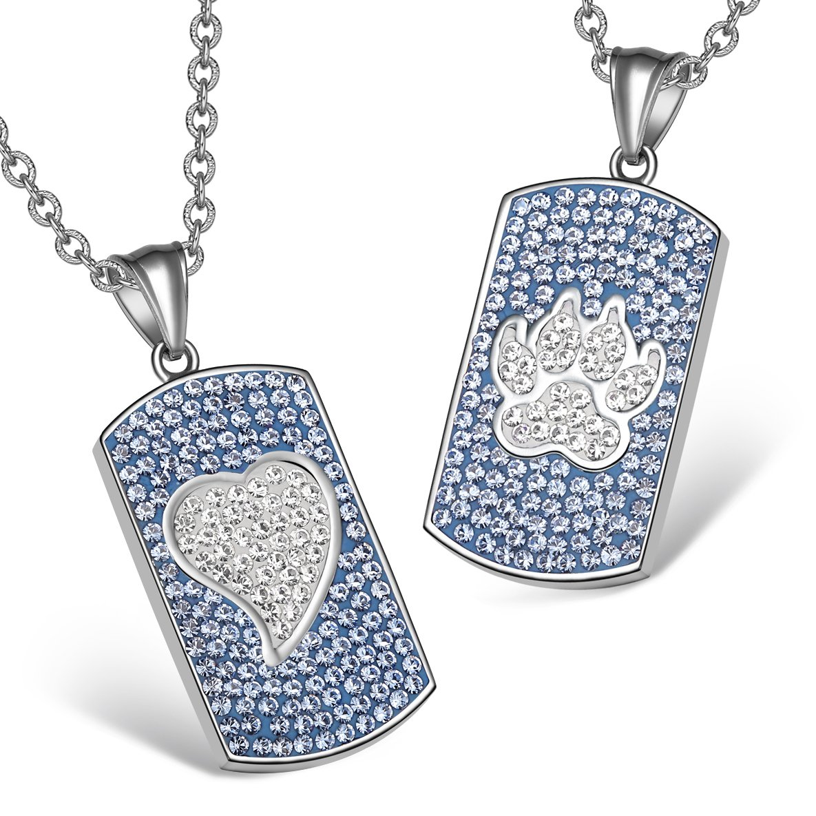 Heart and Wolf Paw Austrian Crystal Love Couples Best Friends Dog Tag Sky Blue White Necklaces
