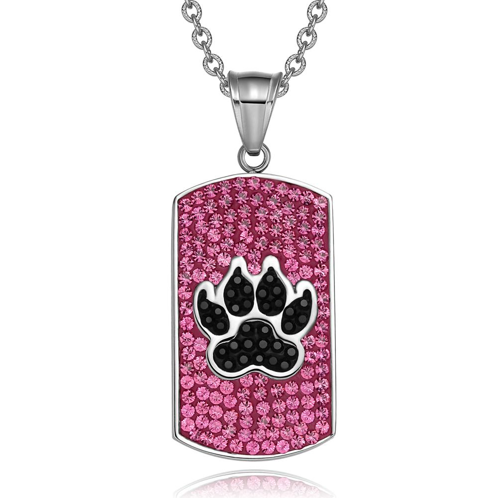 Wolf Paw Austrian Crystals Amulet Protection Powers Fuscia Pink Jet Black Dog Tag Pendant Necklace