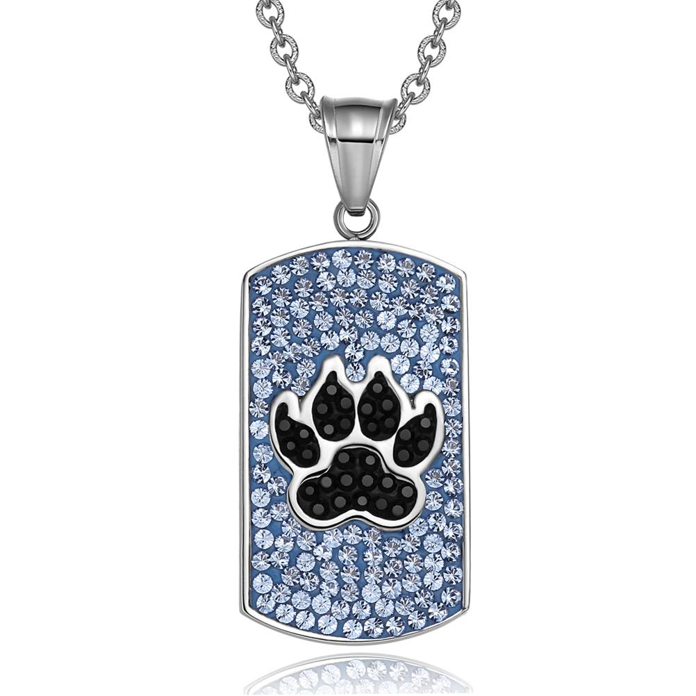 Wolf Paw Austrian Crystals Amulet Protection Powers Sky Blue Jet Black Dog Tag Pendant Necklace
