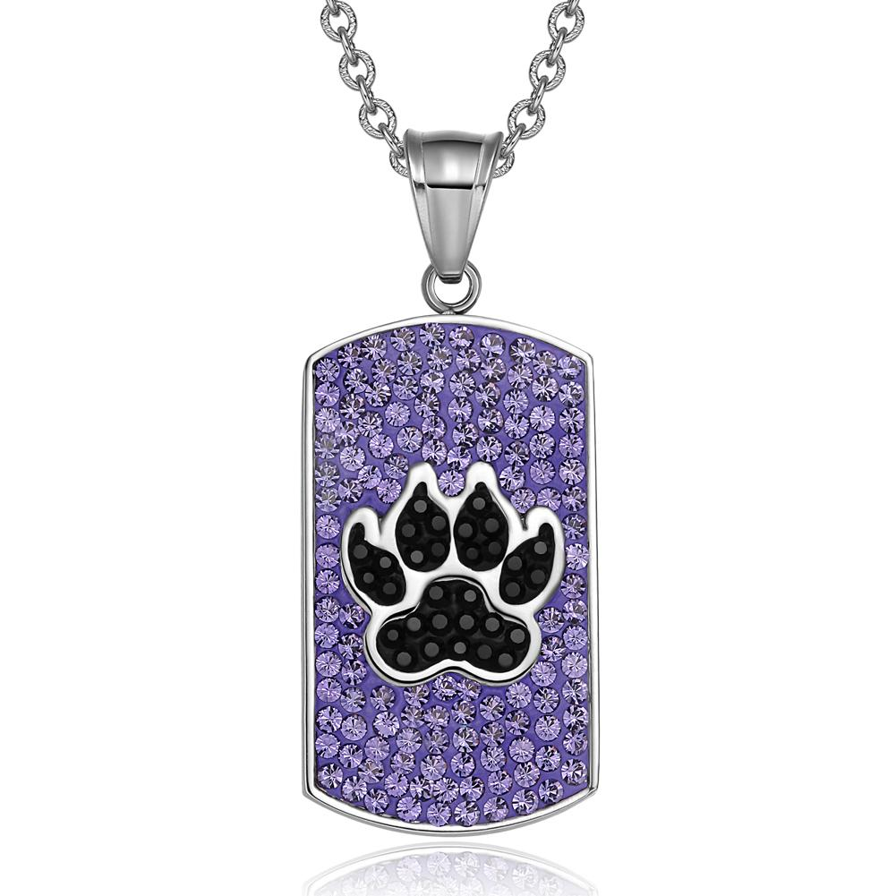 Wolf Paw Austrian Crystals Amulet Protection Powers Purple Jet Black Dog Tag Pendant Necklace