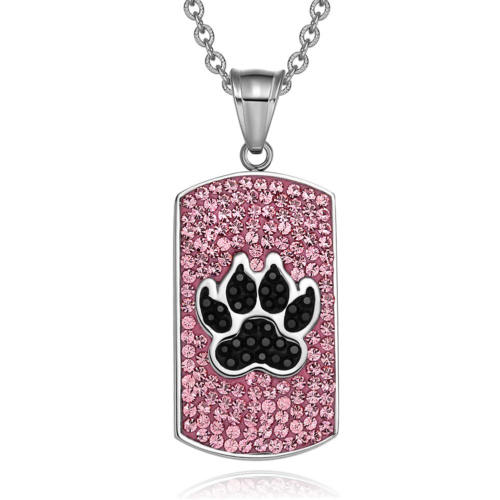 Wolf Paw Austrian Crystals Amulet Protection Powers Rose Pink Jet Black Dog Tag Pendant Necklace