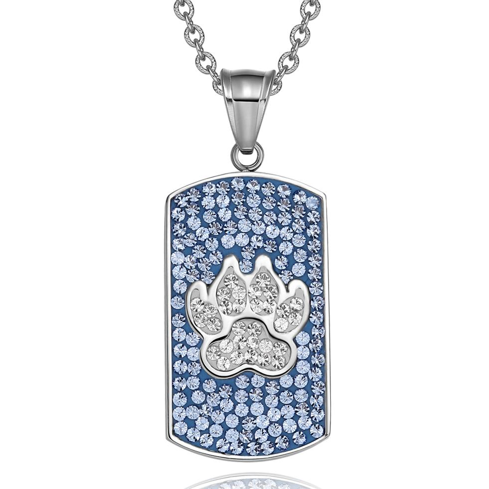Wolf Paw Austrian Crystals Amulet Protection Powers Sky Blue White Dog Tag Pendant Necklace