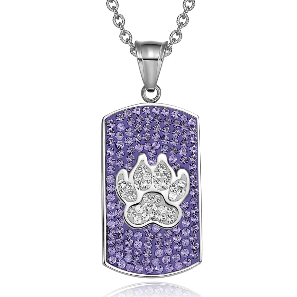 """Wolf Paw Austrian Crystals Amulet Protection Powers Purple and White Dog Tag Pendant 18"""" Necklace"""