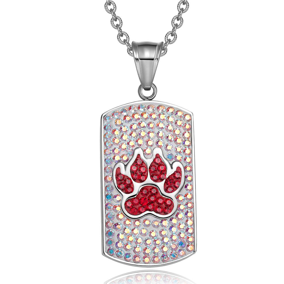 Wolf Paw Austrian Crystals Amulet Protection Powers Rainbow White Cherry Red Tag Pendant Necklace