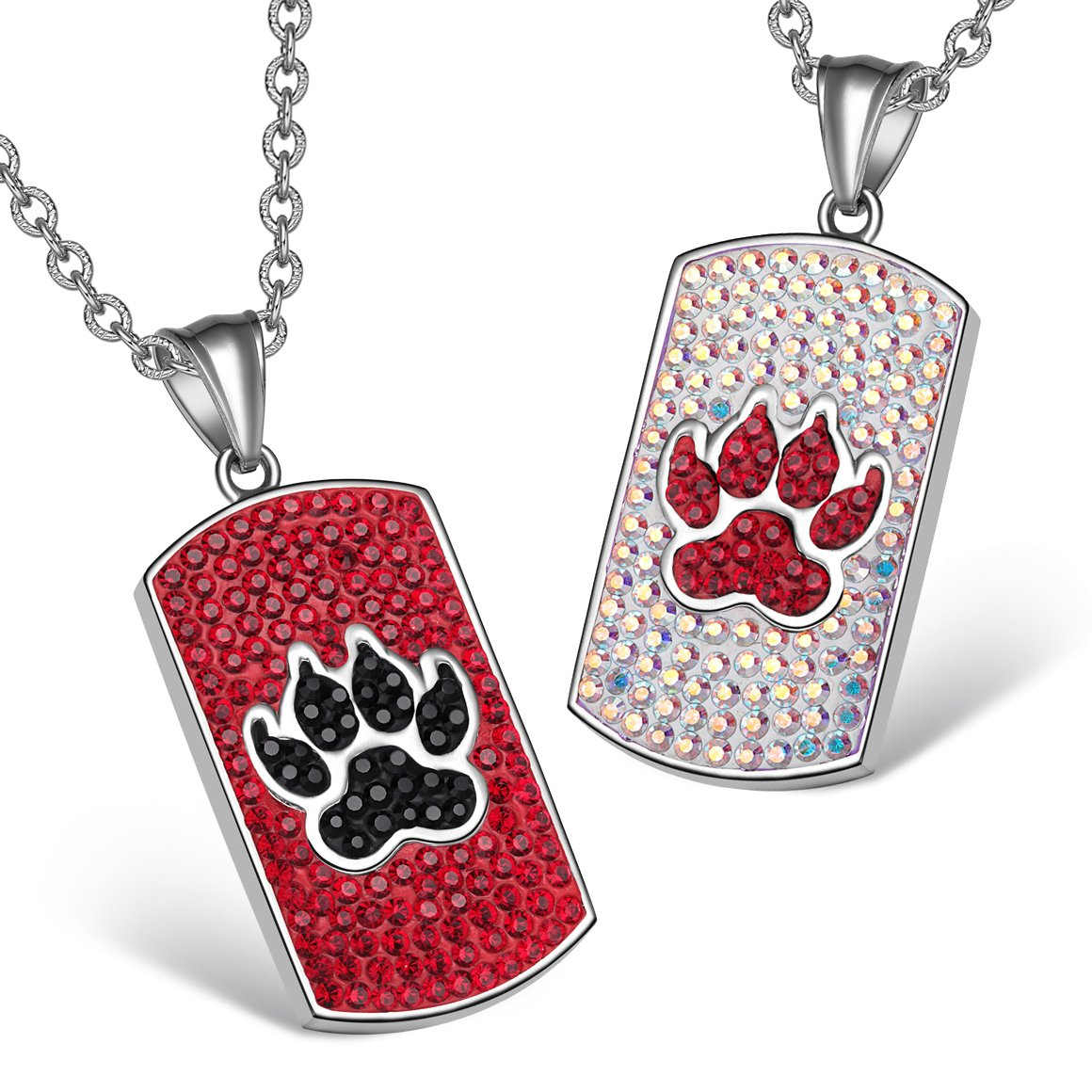 Wolf Paw Austrian Crystal Love Couples or Best Friends Tag Cherry Red Black Rainbow White Necklaces