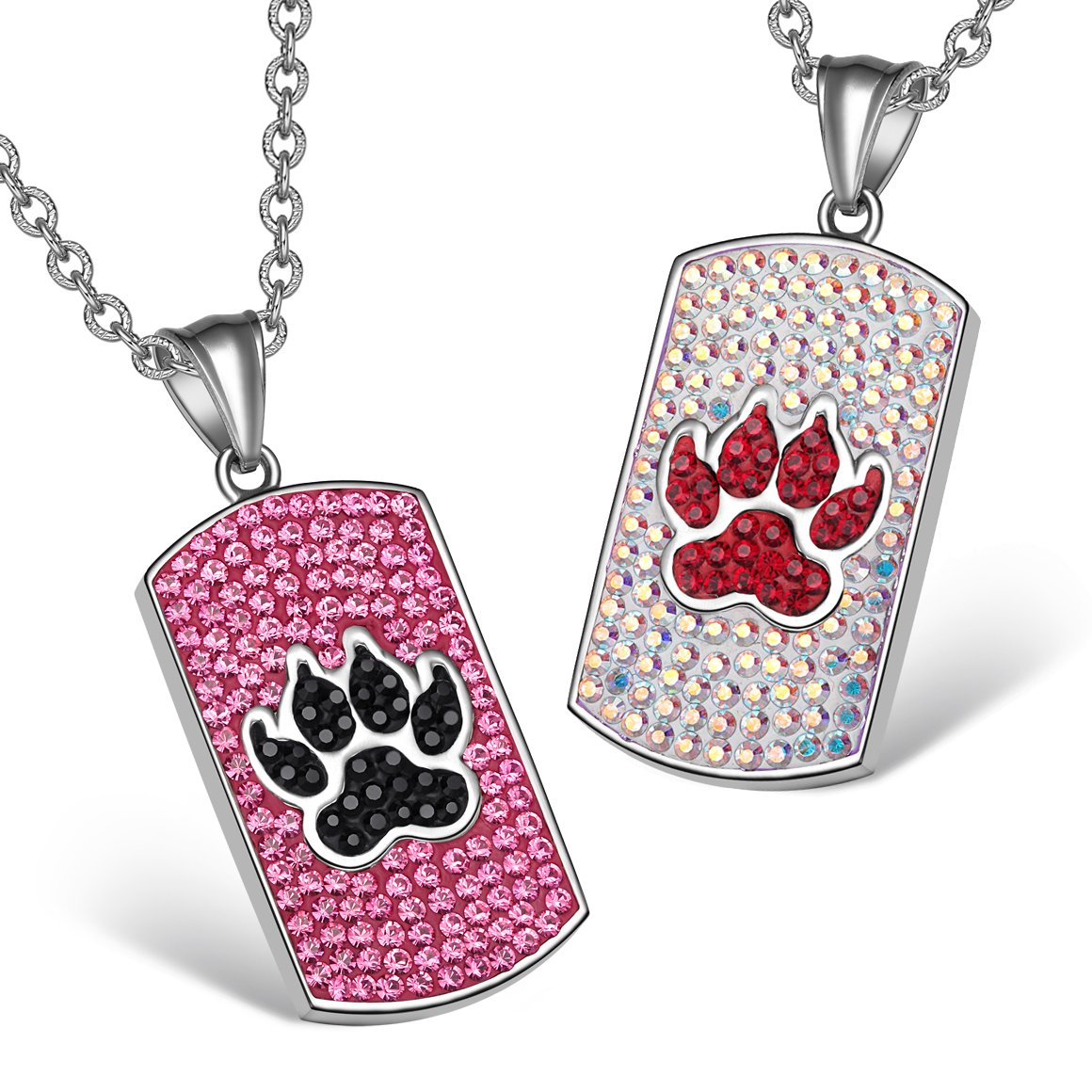 Wolf Paw Austrian Crystal Love Couples Best Friends Tag Fuscia Pink Black Rainbow White Necklaces