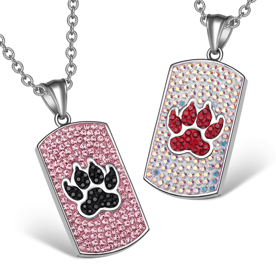 Wolf Paw Austrian Crystal Love Couples or Best Friends Tag Rose Pink Black Rainbow White Necklaces