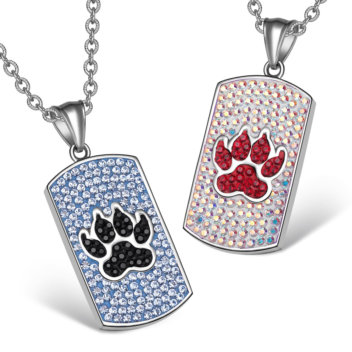 Wolf Paw Austrian Crystal Love Couples or Best Friends Tag Sky Blue Black Rainbow White Necklaces