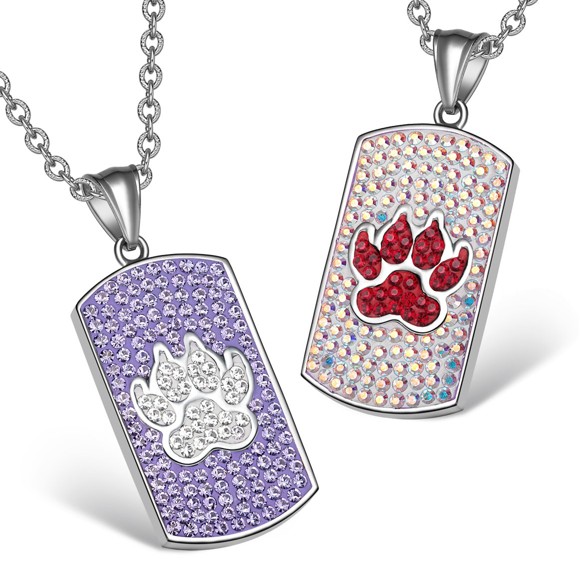 Wolf Paw Austrian Crystal Love Couples or Best Friends Dog Tag Purple Rainbow White Necklaces