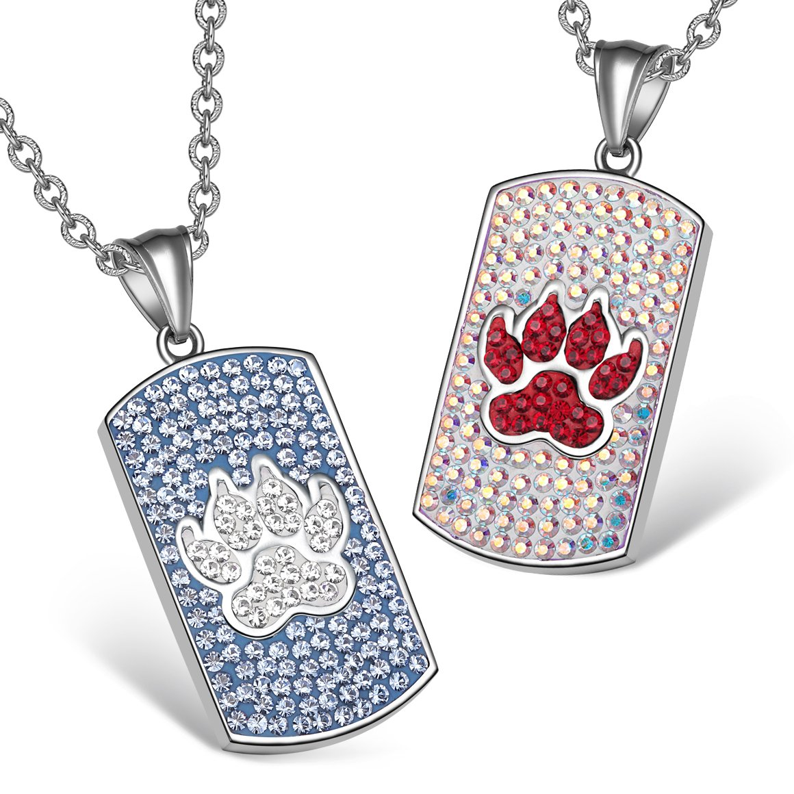 Wolf Paw Austrian Crystal Love Couples or Best Friends Dog Tag Sky Blue Rainbow White Necklaces