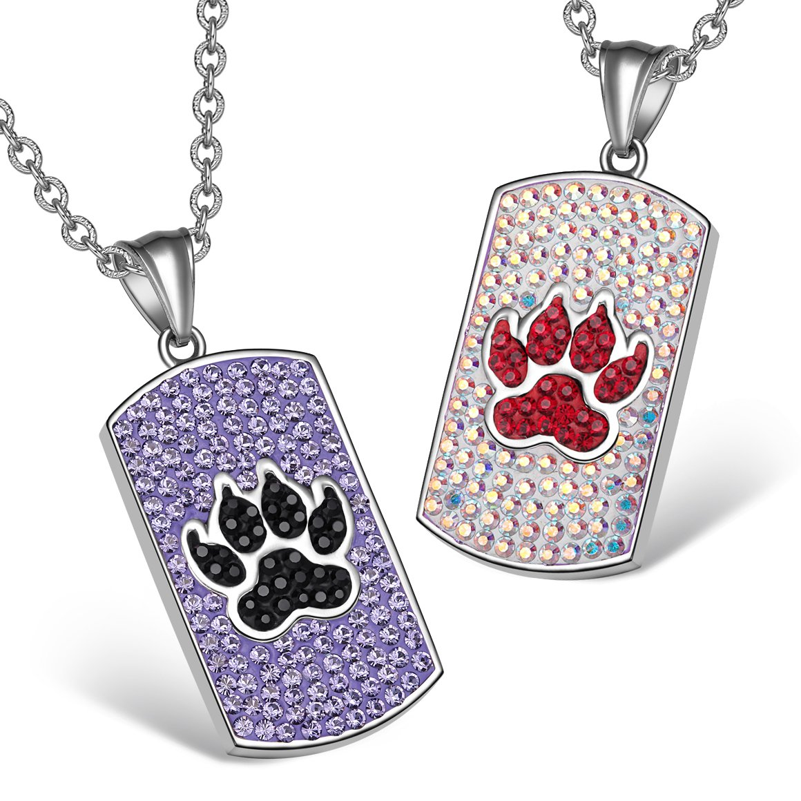 Wolf Paw Austrian Crystal Love Couples or Best Friends Purple Black Rainbow White Charm Necklaces