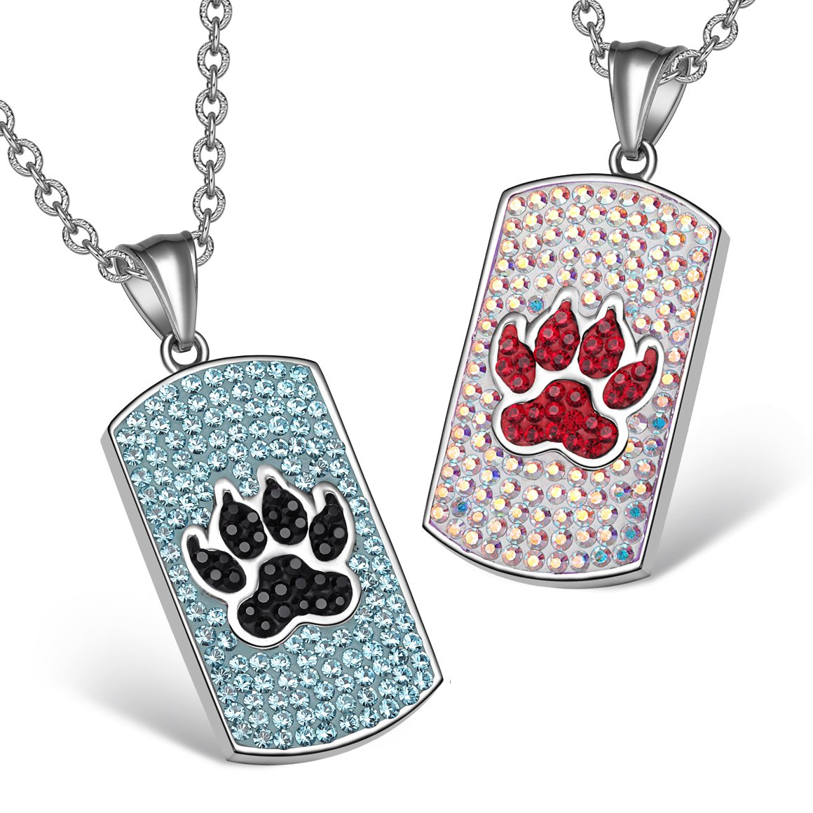 Wolf Paw Austrian Crystal Love Couples or Best Friends Tag Aqua Blue Black Rainbow White Necklaces