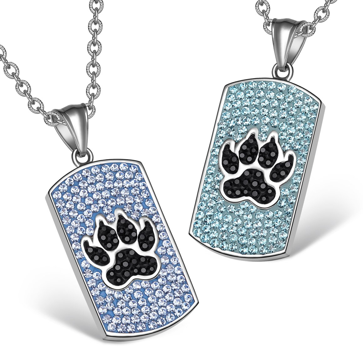 Wolf Paw Austrian Crystal Love Couples or Best Friends Tag Sky Aqua Blue Black Charm Necklaces
