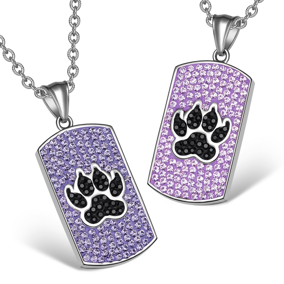 Wolf Paw Austrian Crystal Love Couples or Best Friends Tag Lavender Purple Black Charm Necklaces