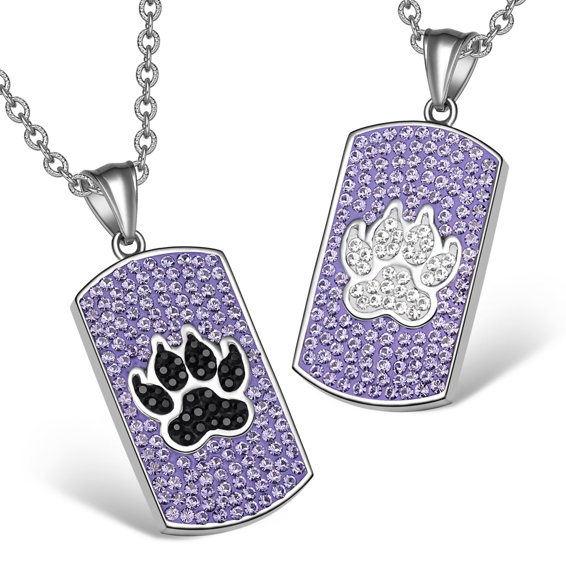 Wolf Paw Austrian Crystal Love Couples or Best Friends Dog Tag Purple Black White Charm Necklaces