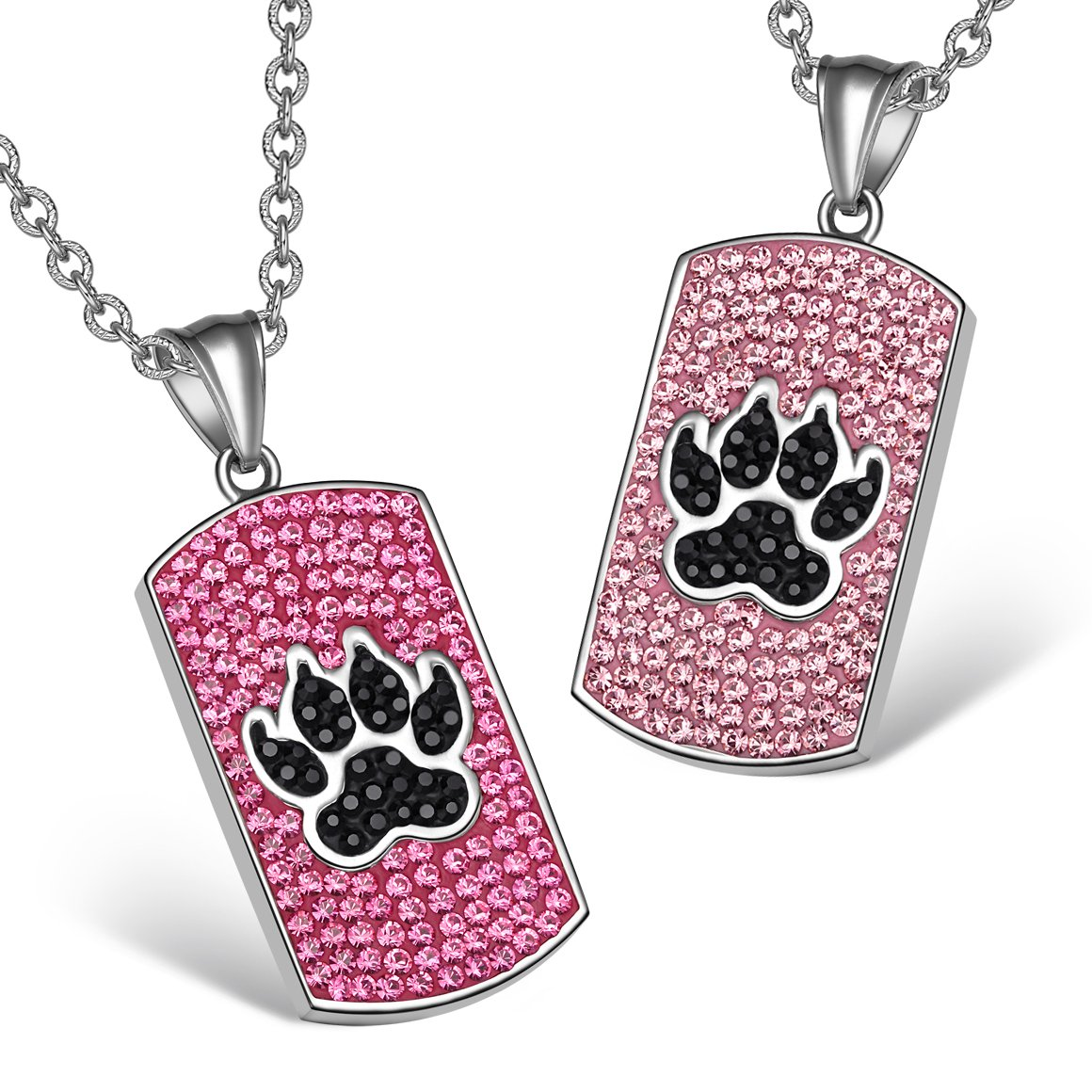 Wolf Paw Austrian Crystal Love Couples or Best Friends Tag Fuscia Pink Jet Black Charm Necklaces