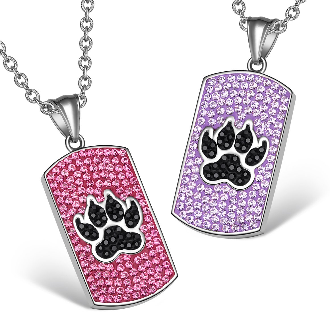 Wolf Paw Austrian Crystal Love Couples or Best Friends Tag Fuscia Pink Purple Jet Black Necklaces
