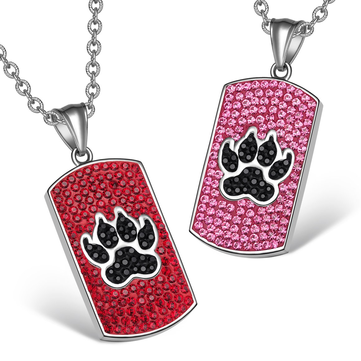 Wolf Paw Austrian Crystal Love Couples Best Friends Tag Fuscia Pink Cherry Red Jet Black Necklaces