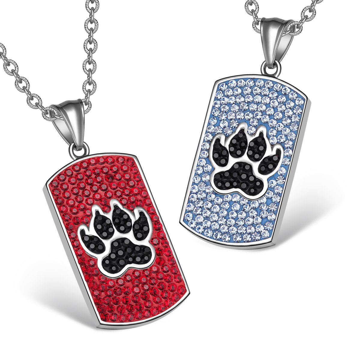 Wolf Paw Austrian Crystal Love Couples or Best Friends Tag Cherry Red Jet Black Sky Blue Necklaces