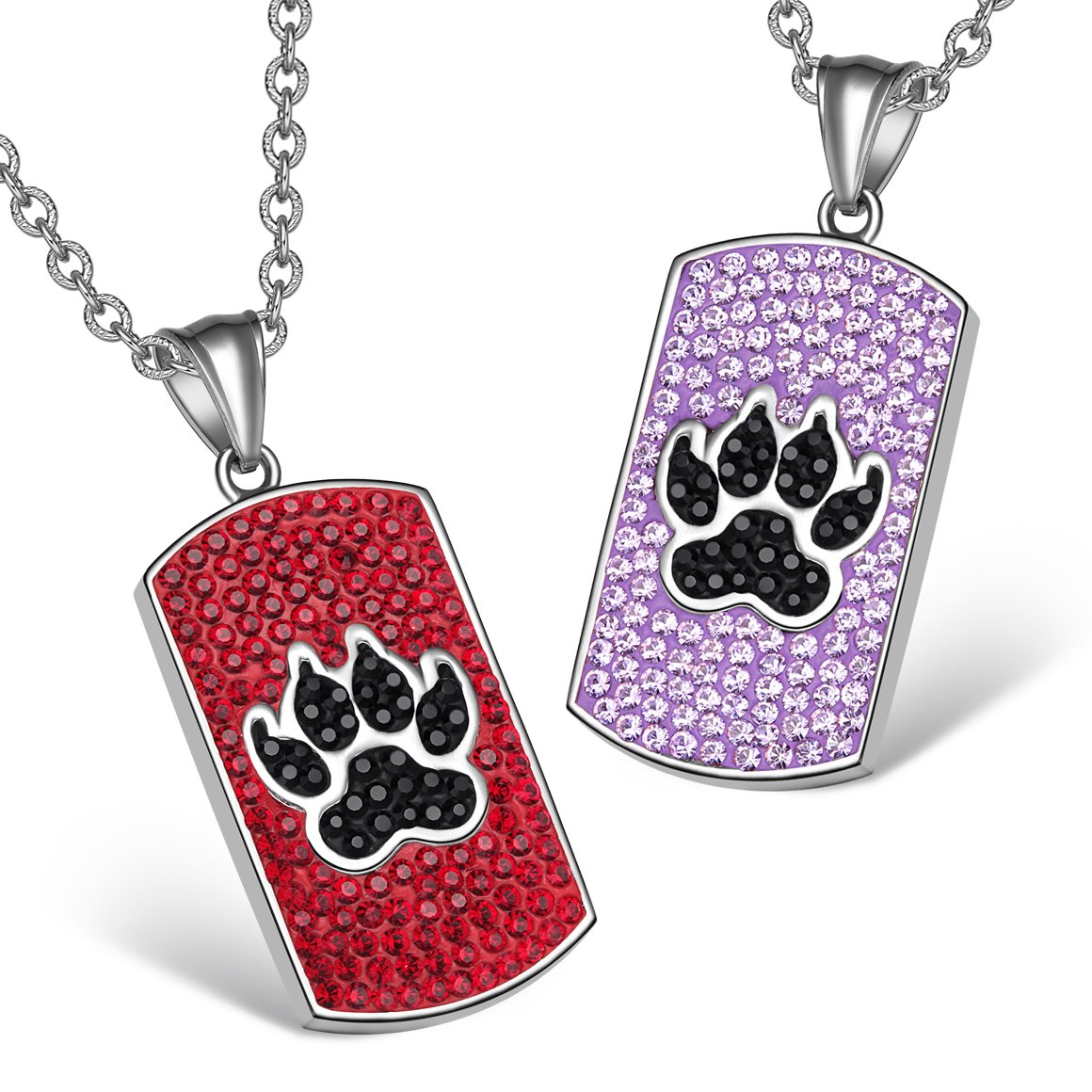 Wolf Paw Austrian Crystal Love Couples or Best Friends Tag Red Black Lavender Purple Necklaces