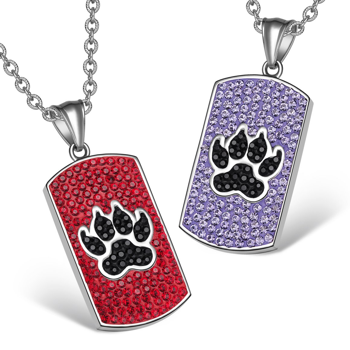Wolf Paw Austrian Crystal Love Couples or Best Friends Tag Cherry Red Black Purple Charm Necklaces