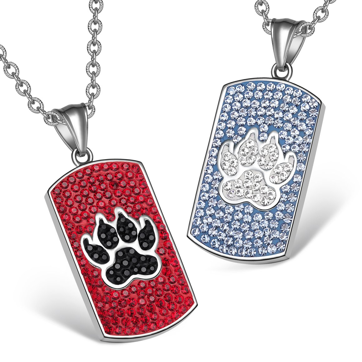Wolf Paw Austrian Crystal Love Couples or Best Friends Tag Cherry Red Black Blue White Necklaces