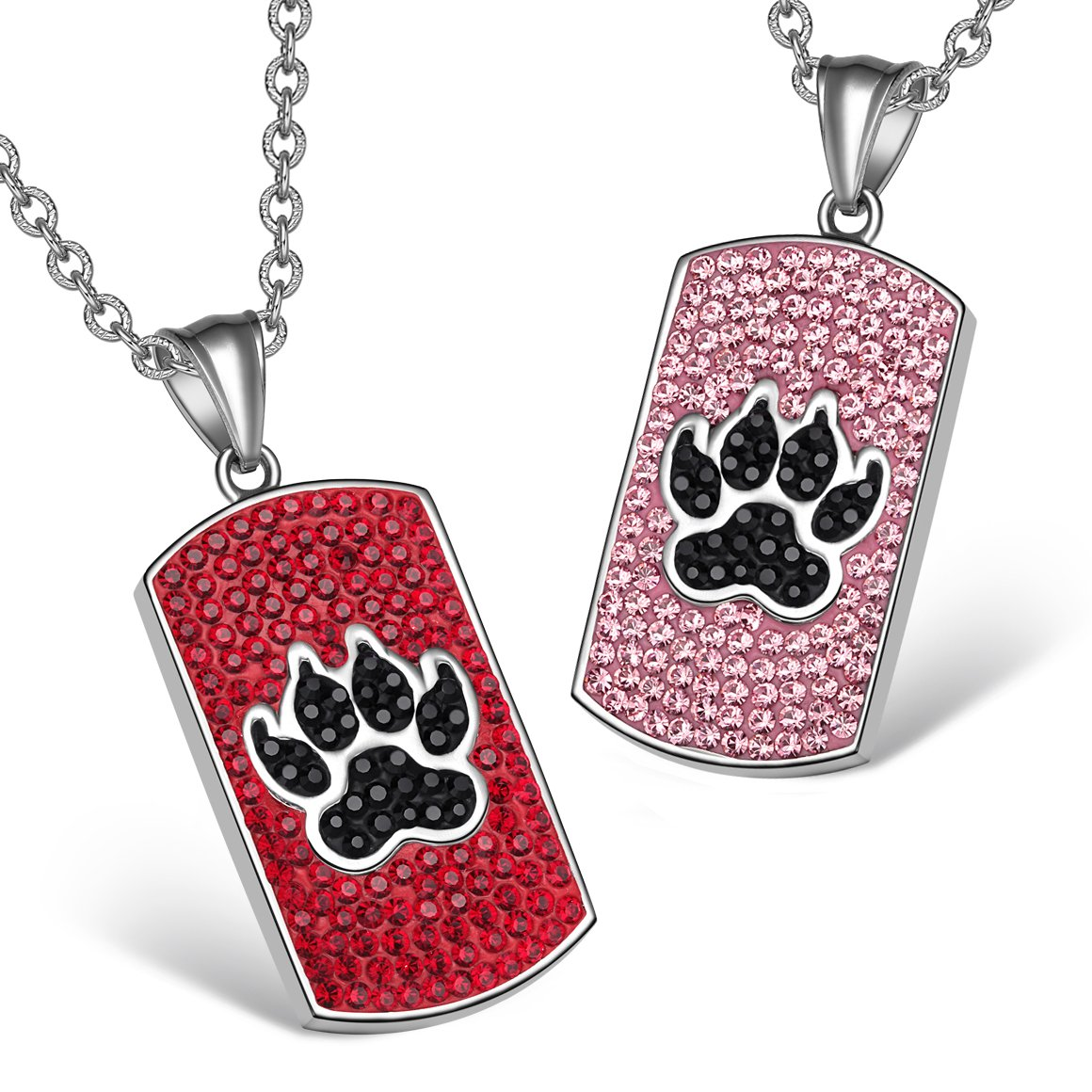 Wolf Paw Austrian Crystal Love Couples or Best Friends Tag Red Black Rose Pink Charm Necklaces