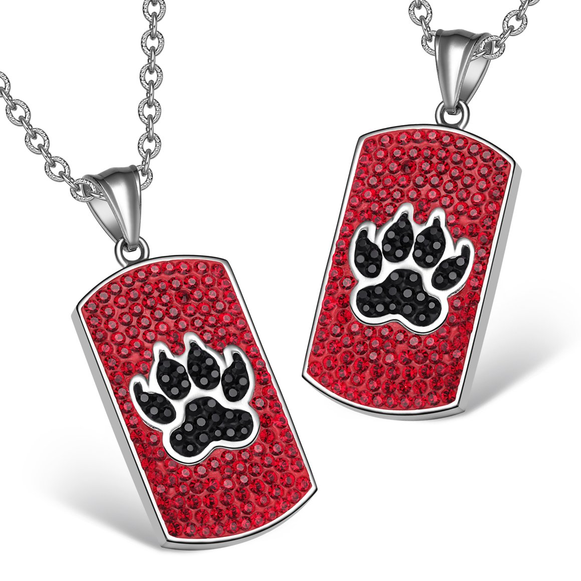 Wolf Paw Austrian Crystal Love Couples or Best Friends Dog Tag Cherry Red Jet Black Charm Necklaces