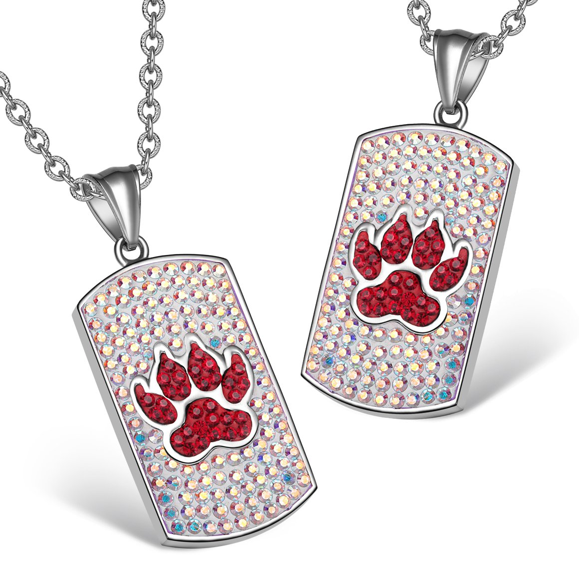 Wolf Paw Austrian Crystal Love Couples or Best Friends Tag Cherry Red Rainbow White Charm Necklaces