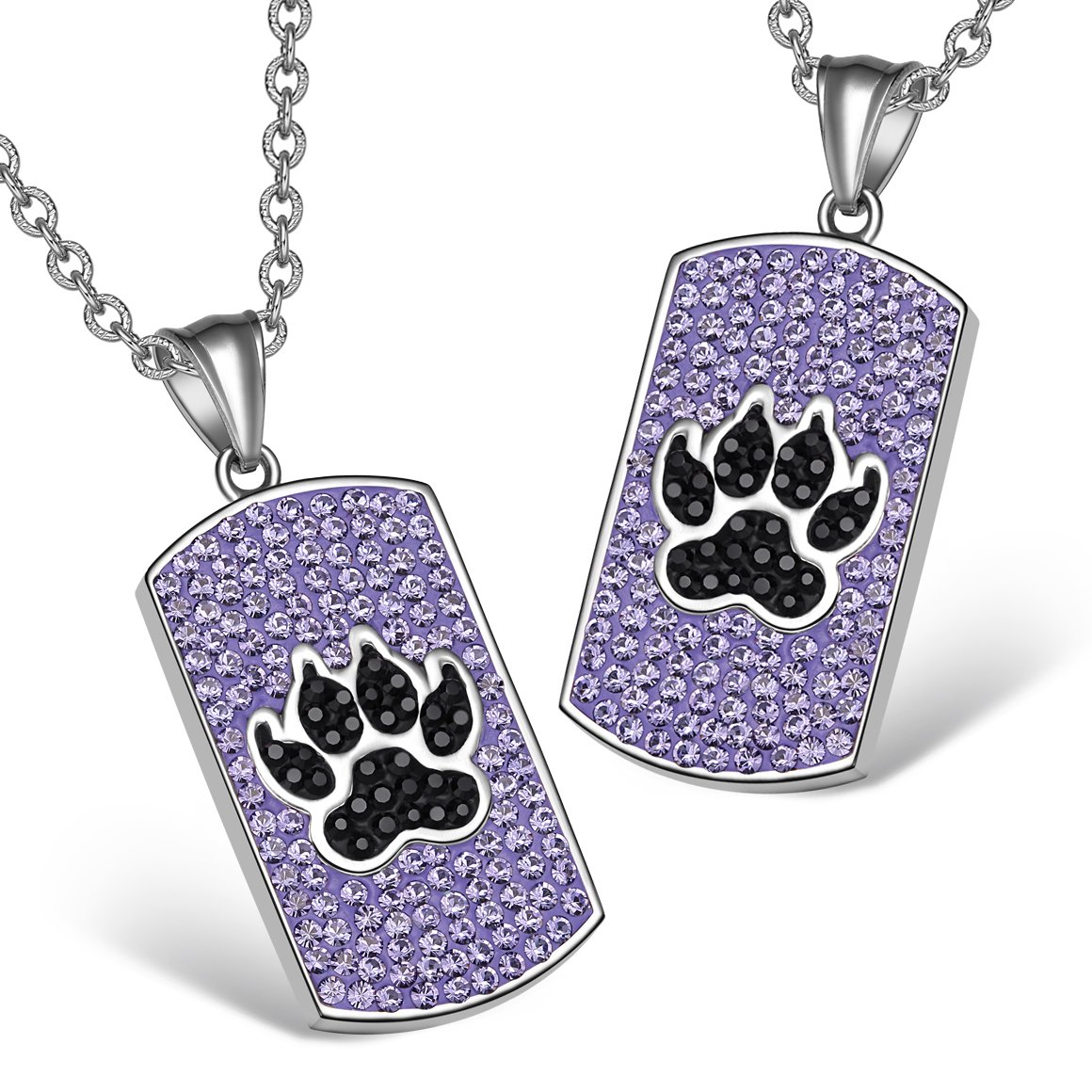 Wolf Paw Austrian Crystal Love Couples or Best Friends Dog Tag Purple Jet Black Charm Necklaces