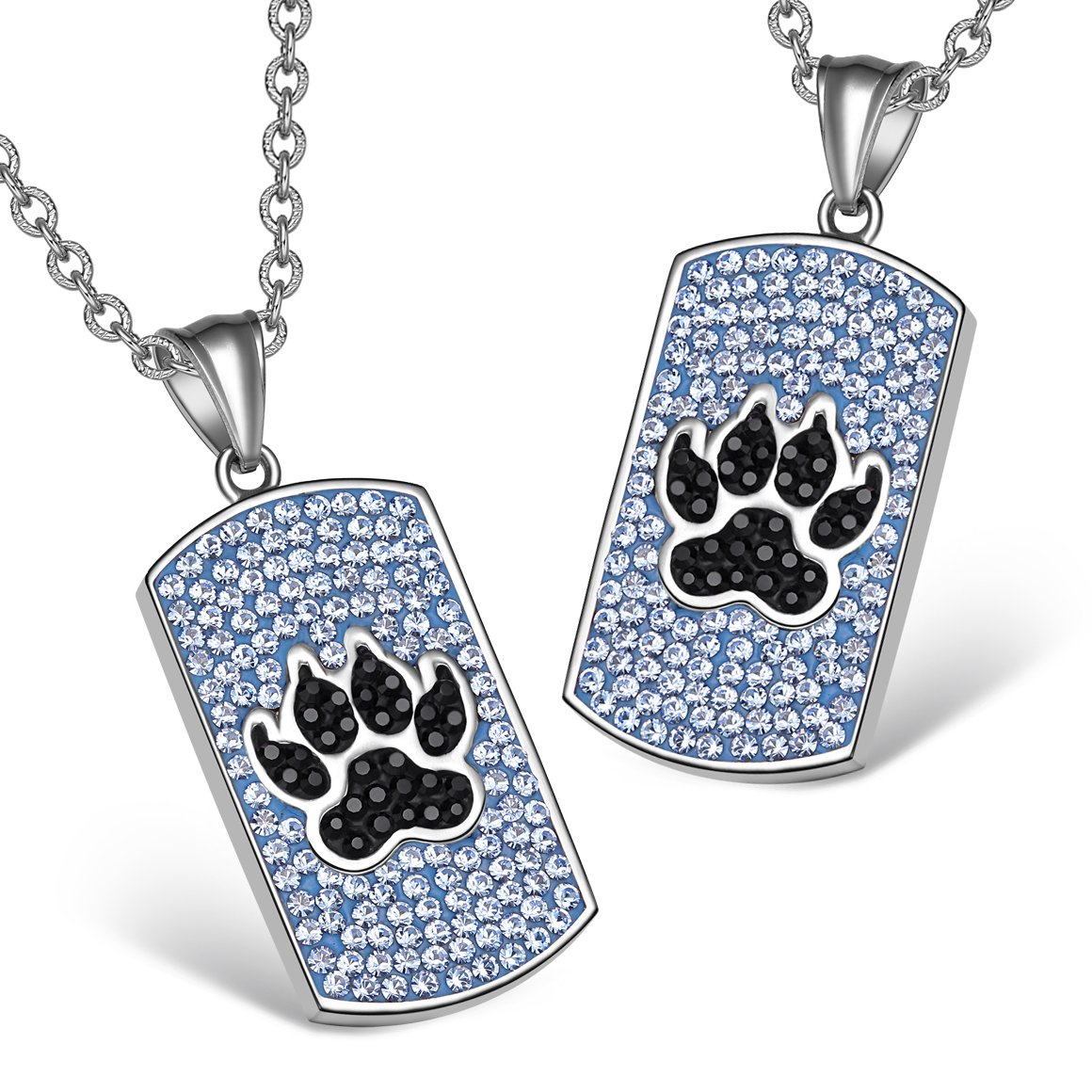 Wolf Paw Austrian Crystal Love Couples or Best Friends Dog Tag Sky Blue Jet Black Charm Necklaces