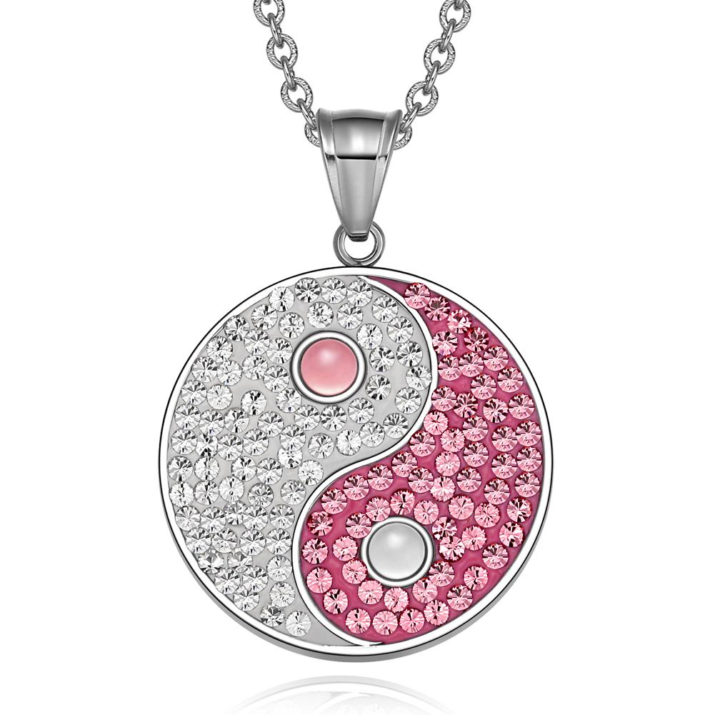 Yin Yang Magic Balance Amulet Austrian Crystals Pink and White Cats Eye Pendant 18 inch Necklace