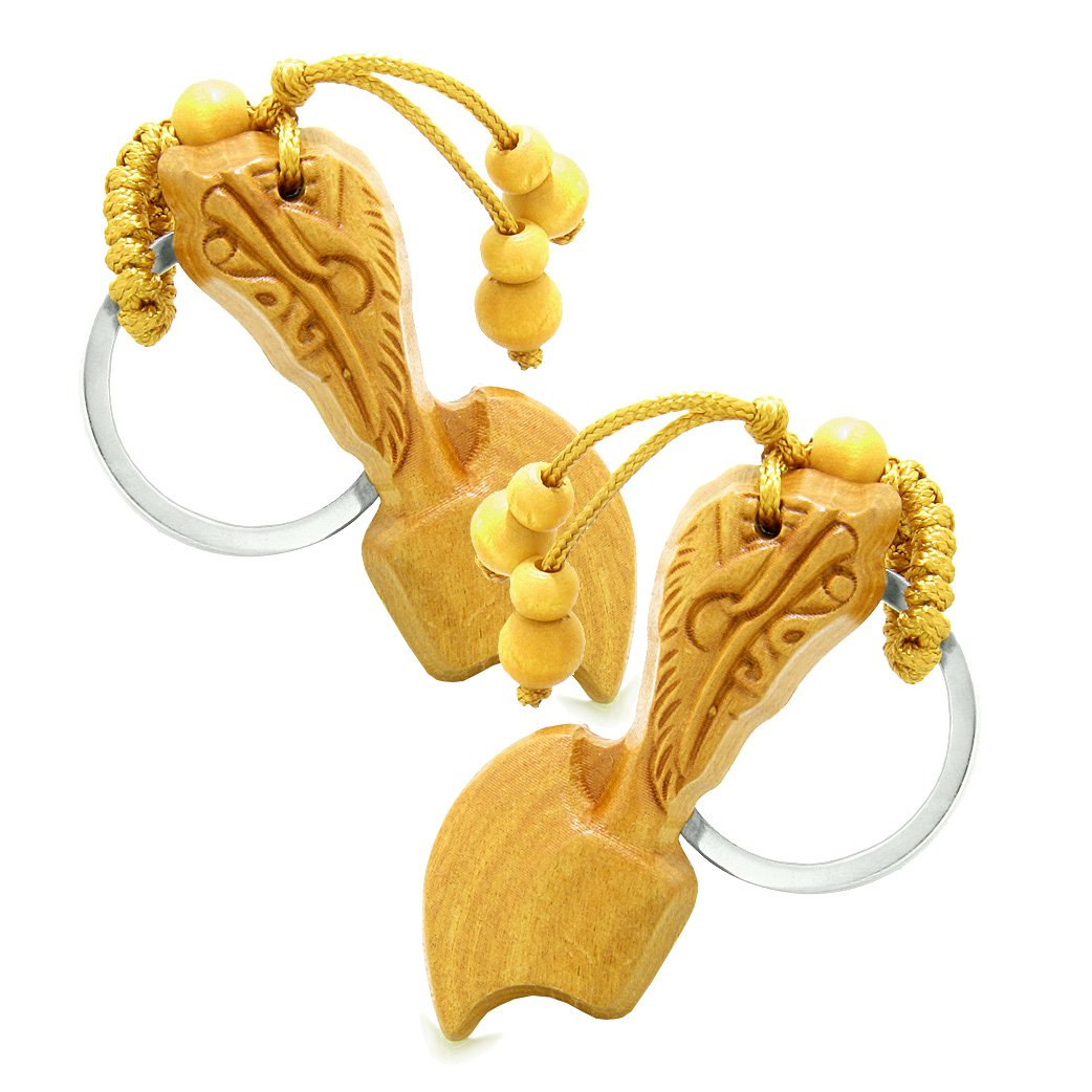 Amulet Sandal Wood Axe Good Luck Protection Powers Feng Shui Keychain Charm Set Blessings