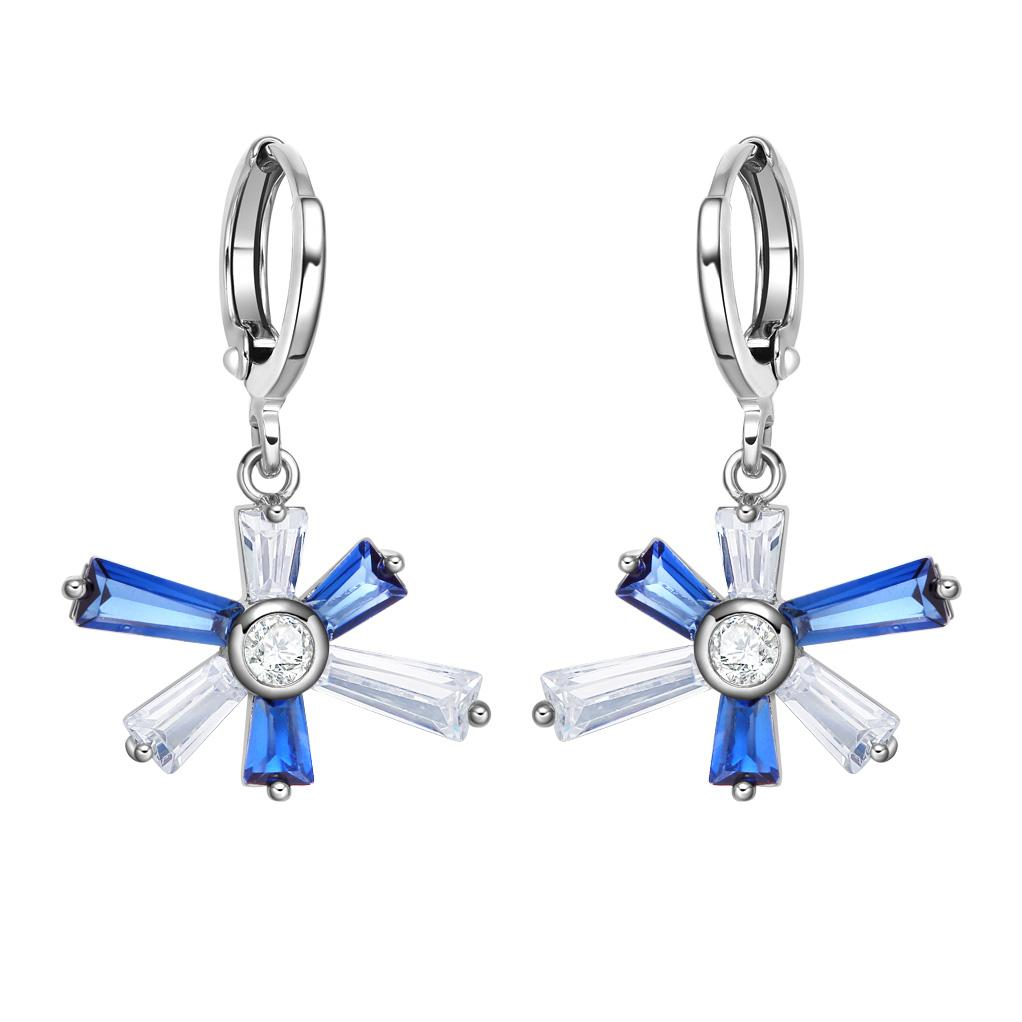 Magical Abstract Snowflake Lucky Charms Unique Royal Blue White Crystals Silver-Tone Earrings