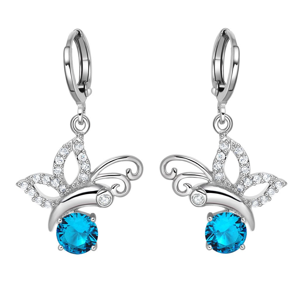 Magical Cute Butterflies Lucky Charms Silver-Tone Aqua Blue White Crystals Unique Earrings